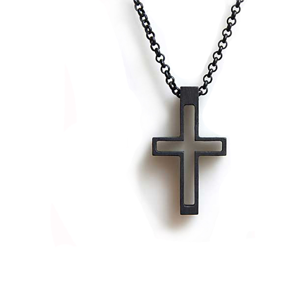 necklace cross k3 in black fashion style